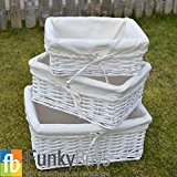FunkyBuys® Lot de 3paniers de rangement en osier rectangulaire avec doublure Blanc