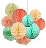 Furuix Mint Green Peach Cream Balls Honeycomb Tissue Papier de soie Papier Pom Pom Hanging décorations en papier pour Baby ...