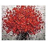 Gazechimp Ensemble DIY Peinture à L'huile Toile Pré-imprimés avec Brosse et Peinture - Arbre d'Art Rouge, 40 * 50cm