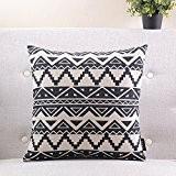 géométrique taie d'oreiller en coton noir et blanc/Simple et moderne coussin de canapé/coussins de chevet/oreiller lombaire-F 55x55cm(22x22inch)versionA