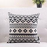 géométrique taie d'oreiller en coton noir et blanc/Simple et moderne coussin de canapé/coussins de chevet/oreiller lombaire-E 55x55cm(22x22inch)versionA