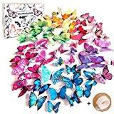 Goodlucky365 72 Stickers Muraux de Papillons 3D Sticker Mural Autocollants Bricolage Décoration pour Salon Mariage Fammille ou Chambre