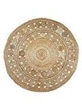 Grand jute Tapis rond Cercles, 150x 150cm