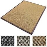 Grand tapis de salon casa pura® 100% sisal naturel | avec bordure coton | 3 couleurs et 2 tailles | ...