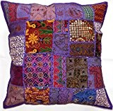 Grand Zip décoratif Housse de coussin Violet 61x 61cm 60x 60cm Coton Indien Fait Main Patchwork ethnique brodé à paillettes ...
