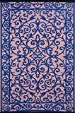 Green Decore Tapis léger Intérieur/extérieur réversible Plastique Tapis Gala Bleu classique \ Vieux rose–0,9x 1,5m (90x 150cm), bleu classique/vieux rose