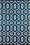 Green Decore Tapis léger Intérieur/extérieur réversible Plastique Tapis moderne Bleu foncé \ Blanc–1,5x 2,4m (150x 240cm), Majolique Bleu/blanc