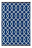 Green Decore Tapis léger Intérieur/extérieur réversible Plastique Tapis Valencia Bleu \ Blanc–0,9x 1,5m (90x 150cm), bleu/blanc