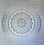 "Gris Ombre Tapestry par JaipurHandloom ""Mandala Tapisserie, Reine, Multi Color Indian Mandala Wall Art, Hippie Hanging Wall, Bohemian Bedspread"