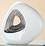 Guilde Vase Fleur Vase décoratif Vase de table en céramique moderne Vase avec trou et émail par réaction argenté Blanc, ...