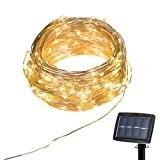 Guirlandes Lumineuses Solaire 22m 150 LED Fil de Cuivre Lampe Étanche de Décoration Extérieur et Intérieur pour Fêtes, Noël, Mariages, ...