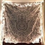 Hamsa-sketched-hand-throw Indian-hippie Urban-wall Hanging-decor Dorm-bedding Queen-size-large-tapestry