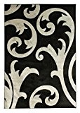 Hand Carved Elude - Contemporain Salon Tapis - Gris/Noir - 120x170