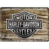 Harley-Davidson Wood Logo Carte postale métal