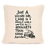 Harry Potter inspired just a wizard girl living in a muggle world great cushion gift idea by fourleafcloverprint