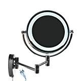 Floureon 8,5 Pouces LED Miroir Mural Grossissant Lumineux Extension Pliant Double Face avec Normale et Grossissant x7-360 Degr/és Rotation