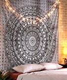 Hippie Mandala Tapestry murale bohémien Noir et blanc coton tenture Grande Indien Tapisserie Par Rajrang