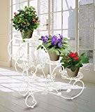 HLC-Blanc Porte Pots Plante Fleurs 3 Etagere Support Jardin en Metal Fer