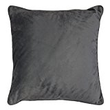 Homea Coussin Passepoil Velours Uni Romantic Polyester Anthracite 40 x 40 cm