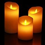 Homemory Lot de 3 Bougies Piliers LED à Piles en Cire Véritable?sans flamme ? Flamme Vacillante? Fonctionnement sur Piles Batterie ...