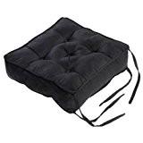 Homescapes Coussin de Chaise ou Réhausseur en 100% cuir velours de 40 x 40 x 10 cm de couleur noir