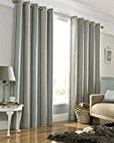 Homescapes Paire de rideaux doublés à œillets rayés Bleu Canard et Gris l 165 x H 183 cm