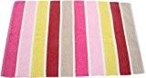 Homescapes – Tapis à Rayures – Chenille 100% Coton – Rayures Rose, Beige, Rouge, Jaune, Rose Bonbon – 45 x ...