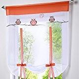 Hoomall Décoration Fenêtre Intérieur Voilage Brise Bise avec Ruban pr Chambre Balcon Broderie Hibou Blanc 60cmx140cm 1 PC