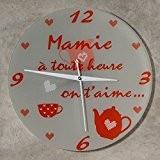Horloge Je t'aime Mamie – Cadeau original pour Papi et Mamy – Fête des Grands mères, Anniversaire, Noël...)