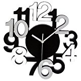 Horloge Murale Design Chiffres en Relief - Pendule Silencieuse - Noir Gris