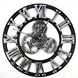 Horloge Murale, Finer Shop 3D Grande Horloge Vintage Murale Retro Pendule de Roue Dentée Style Européen - Argenté Roman