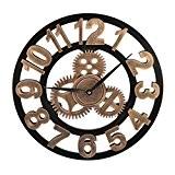 Horloge Murale, Finer Shop 3D Grande Horloge Vintage Murale Retro Pendule de Roue Dentée Style Européen - Doré Arabe
