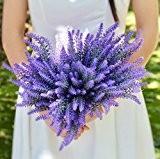 Houda Fleur artificielle Violet lavande Bouquet pour la décoration de la maison et décorations de mariage–4lots