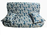 Housse matelassée pour banquette clic clac 140 x 190 JACQUARD RES BLUE - dos non recouvert