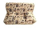 Housse matelassée pour banquette clic clac 140 x 190 tissu UNICO HIPSTER - dos nu