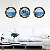 Hublot ensemble de 3 operateurs de Ocean 3D fenêtre partielle givré glaçage murales amovible Wall Stickers muraux pour chambres Accueil ...