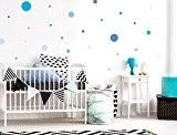 I-love-Wandtattoo 10089CE Sticker mural de chambre d'enfant Autocollants de décoration murale Cercles bleue pour garçon Lot de 25à coller Sticker ...