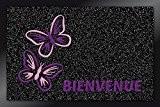 ID Mat 4060 Brushflock Papillons Bienvenue Tapis Paillasson Fibre Polypropylène/PVC Noir 60 x 40 x 0,6 cm