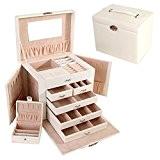 Ifly Online Boîte à Bijoux Cuir de Maquillage Verrouillable Storage avec Couvercle Coffrets Boîte à Maquillage, Bijoux et Cosmétique Beauty ...