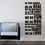 IN THIS HOUSE HOUSE RULES FAMILY WORDS QUOTES WALL STICKERS DECALS MOTTO
