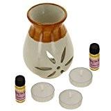 Indian Amber Rose Fragrance Gift Set avec Paire de 10mL huiles parfumées, 3 lumignons et un Handcrafted céramique Burner Vaporisateur ...