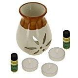 Indian cadeau Eucalyptus Fragrance Set avec Paire de 10mL huiles parfumées, 3 lumignons et un Handcrafted céramique Burner Vaporisateur - ...