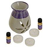 Indian cadeau lavande Fragrance Set avec Paire de 10mL huiles parfumées, 3 lumignons et un Handcrafted céramique Burner Vaporisateur - ...