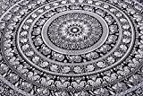 Indian Elephant Mandala Tapestry, Hippie Tapestries, Tapestry Wall Hanging, Indian Black & White Tapestry , Bohemian Dorm Decor Mandala Tapestries, ...
