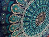 Indian Mandala Wall Hanging Tapestry, Hippie Hippy Tapestries, Feather Peacock Print Tapestry, Cotton Handmade Badsheet, Twin Size Bedding Bedspread, Picnic ...