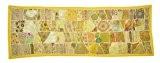 Indian Vintage Accueil décoratif ethnique Tentures murales tapisserie Avec Sequins Zari Mirror & Patchwork, 60 X 20 pouces