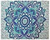 indien hippie Bohemian psychédélique Ombre Floral Bleu-vert Queen-size-large-mandala Wall-Hanging Tapestry-dorm