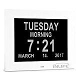 INLIFE 8 pouces Multifonction Horloge Numérique Calendrier avec 3 mode alarme Support 8 langues, la lecture vidéo, Carde de photo,les ...