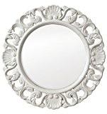 Innova M03743 Casa Miroir Très Orné Circulaire MDF Blanc 48 x 48 x 1,8 cm