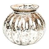 Insideretail 45x 45x 10cm pour Mariage Thé Lumière/fleur de Mercure en Verre Mini Vase rond, Lot de 6, Argent
